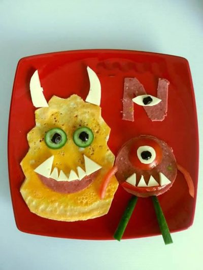 çocuklara kahvaltılar, sevimli canavarlar konulu kahvaltı